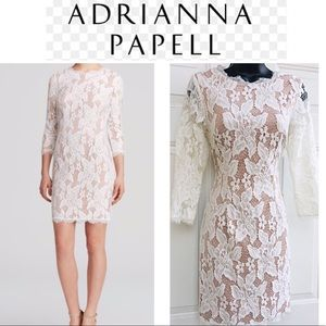 ADRIANNA PAPELL White Nude Illusion Lace Dress 6